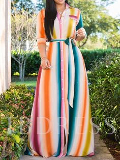 Style:Fashion Pattern Type:Stripes Polyester Neckline:Turn-down Collar Sleeve Style:Half Sleeve Length:Maxi Occasion:Casual Package Dress Note: There might be Trend Fashion, Fashion Outfits, Womens Fashion, Style Fashion, African Fashion Dresses, African Dress, Maxi Shirt Dress, Shirt Outfit, Blazer Dress
