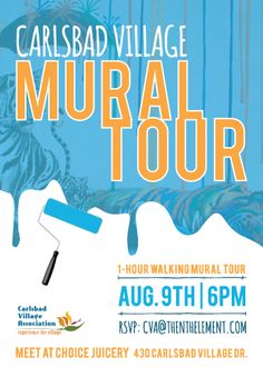 "Village Mural Tour on August 9 in Carlsbad Village! This is a #free event that will tour six of the Village's most notable murals, ending at ""Catnap"" by Michael Summers!"