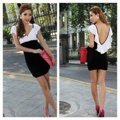 $12.55 Sexy Deep V-Neckline Flouncing Hem Backless Colormatching Mini Dress For Women