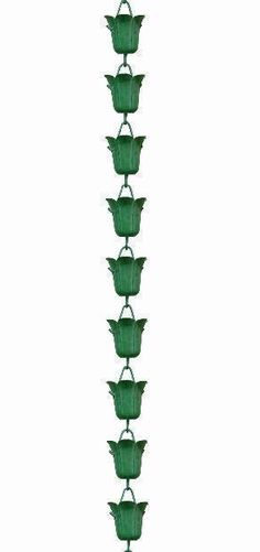 Tulip - Green Patina Rain Chains Rain Gutter Chain, Copper Rain Chain Downspout for Sale
