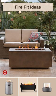 Add warmth & ambiance to your patio or backyard with an outdoor fire pit, comfy furniture & decor. Backyard Seating, Backyard Garden Design, Patio Design, Fire Pit Backyard, Backyard Patio, Diy Patio, Outdoor Living Furniture, Furniture Decor, Deck Furniture