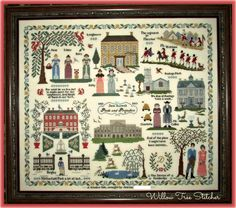 Here is a list of patterns used for this sampler.Most are still available for purchase. My goal was to make my houses look similar to...