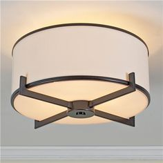 Soft Contemporary Ceiling Light - 2 finishes = for guest room/office - need flush mount in this room