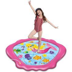 """68"""" Shark or Mermaid Sprinkler Mat - Mermaid Pink"""