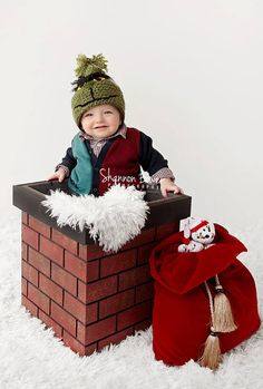 Have the happiest of holiday photographs with this unique chimney photography prop. Our Christmas photo prop chimney fits newborns to toddlers with