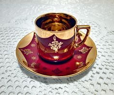 Vintage Bavarian Porcelain Demitasse Teacup & Saucer by Winterling in Garnet and Gold - Circa 1950s by AnchorLineVintage on Etsy
