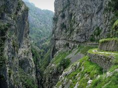 Ruta del Cares (The Cares Trail) - photo by tunante80, via Flickr; The popular path in Picos de Europa National Park is along the Cares River canyon, between the province of León and Asturias, in Spain. It is about 11 kms (6.8 miles) long.