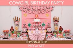 Cowgirl Birthday Party Package Collection Set Mega Personalized Printable // Cowgirl - B12Pz2 via Etsy