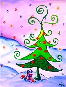 Curly Christmas Tree - Tallahassee, FL Painting Class - Painting with a Twist