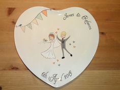Hey, I found this really awesome Etsy listing at https://www.etsy.com/listing/150155348/hand-painted-ceramic-heart-wedding-plate