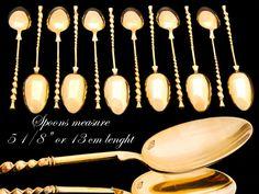 Antique Sterling Silver Vermeil Teaspoons- French- Debain