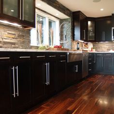 Modern Kitchen Backsplash Dark Cabinets espresso cabinet delicatus white countertop marble backsplash