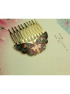 Cloisonne butterfly hair comb