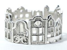 Amsterdam Cityscape  Skyline Statement Ring Size 5  by Shekhtwoman