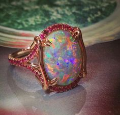 Omiprive fire black opal and ruby ring #opalsaustralia