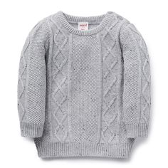 100% Cotton Sweater. Cable knit sweater with ribbed cuffs, neck and hem. Regular fitting silhouette with buttons on baby