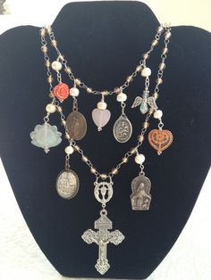 Necklace with Vintage Catholic Saints Medals