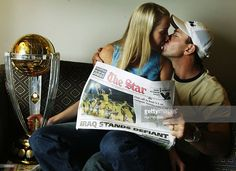 Ricky Ponting captain of Australia receives a kiss from wife Rianna at the Sandton Sun Hotel, Johannesburg, South Africa, on March 24, 2003. Australia defeated India by 125 runs to win the World Cup (Photo by Hamish Blair/Getty Images)
