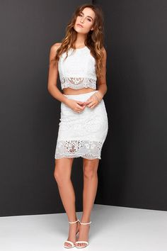 Graduation Dress! <3     Double Time Ivory Lace Two-Piece Dress at Lulus.com!