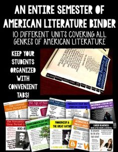 This product includes 10 full units pertaining to American Literature.  The units include a variety of hands-on, creative activities.  Download the preview to get a basic sample of the types of activities.  This product is over 200 pages and includes 4 other products from my store (Common Core Task Cards for reading literature and informational text, Common Core Reading Literature Booklet, and Gatsby Revealed Board Game)!Units covered include:-Colonialism (The Crucible and Anne Bradstreet)…