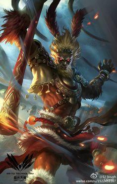 SGTY card by redpencilart on DeviantArt Character Art, Character Design, King Tattoos, Journey To The West, Monkey King, Monkey Art, Dragons, Art Anime, King Art