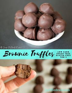 I love truffles. And brownies. And cake pops. I combined them all in these amazing Brownie Truffles.You're welcome. Low carb, gluten/sugar free, THM S.