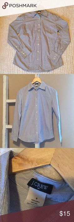 J Crew Blue & White Collared Button Down Shirt 100% cotton. Great condition. Perfect under sweaters! J. Crew Tops Button Down Shirts