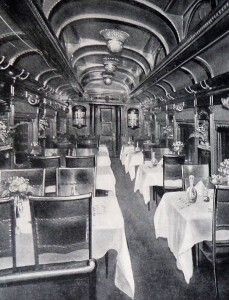 Elegant dining car from the Chicago and North Western Transportation Company. Photo courtesy of Western Railway, public domain.