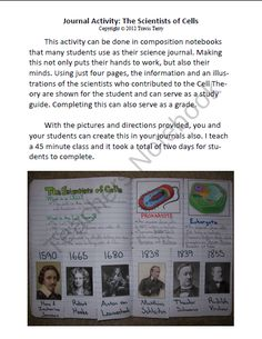 Science Journal: Scientists of Cell Theory product from MrTerrysScience on TeachersNotebook.com