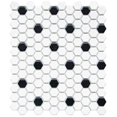 Glazed Porcelain 1 Inch Hexagon- White and Black Matte Mosaic mission stone and tile Hex Tile, Mosaic Tiles, Mosaics, Black And White Tiles, Black Dots, Penny Tile Floors, Honeycomb Tile, Hexagon Pattern, Black Pattern