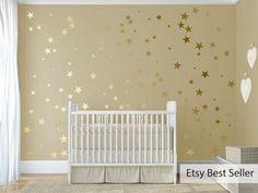 120 gold metallic stars nursery wall decals nursery wall stickers wall art baby shower gift vinyl wallpaper art decor