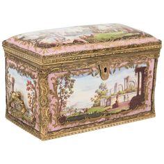 Extremely Rare Bilston Enamel Box, Mounted in Gilt Brass, England, circa 1780   1stdibs.com