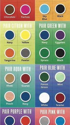 With this chart you will be able to choose colors that coordinate and contrast to the colors you picked.