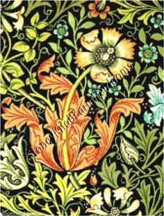 Art Nouveau #4 Flower Blue Green Purple Leaf Counted Cross Stitch Chart Pattern