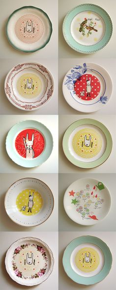 J'aime les assiettes - whimsical illustrations on plates Pottery Painting, Ceramic Painting, Ceramic Art, Plates And Bowls, Plates On Wall, Plate Wall, Ceramic Pottery, Decorative Plates, Sweet Home