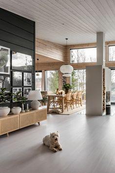 Modern Cabin Decor, Modern Wooden House, Modern Home Interior, Home Interior Design, Living Room Designs, Living Room Decor, Living Spaces, Minimalist House Design, Minimalist Home