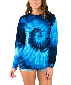 Another great find on #zulily! Blue Ocean Spiral Tie-Dye Long-Sleeve Tee #zulilyfinds