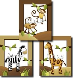 Set of 3 In the Jungle Creatures Animals Bedroom by ToadAndLily
