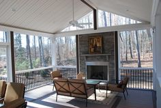 Rock Fireplace...on a screened in porch!  ideas for redoing my back deck...