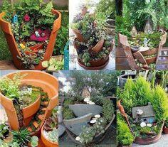 Fairy gardens made of broken flower pots