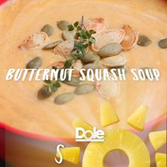 Spiced Butternut Squash Soup In need of a cozy addition to this week's dinner plan? This one-pot Butternut Squash Soup with a splash of Dole Pineapple Juice may be your new go-to.