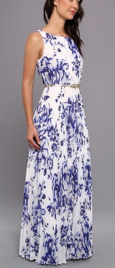 Blue and white floral maxi