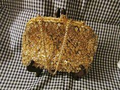 Gold Satin Beaded Evening Bag / Purse by trackerjax on Etsy
