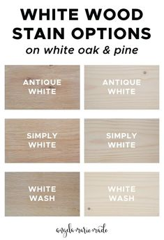 White wood stain options that are easy to find locally or online. See photos of how these whitewash wood stains actually look on white oak wood and pine wood! Learn the difference between white stain vs white paint for how to whitewash wood too! White Wood Stain, Oak Wood Stain, Stain On Pine, White Oak Wood, Wood Stain Colors, Staining Pine Wood, Cabinet Stain Colors, Pine Cabinets, Staining Cabinets