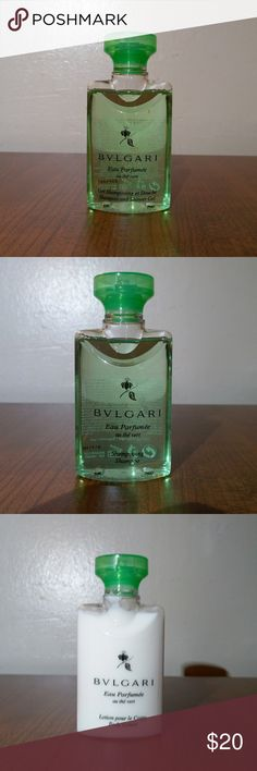 Bvlgari Green Tea Travel Set (5 Piece) NWOT Shampoo  Conditioner  Shower gel  Lotion  Bar Soap  All four liquid?items are a Perfect 1.3 fl.oz Travel size (Bar soap is 1.7 oz.)  Building on the heritage of natural bliss and true luxury, Bvlgari introduces Eau Parfum?e au Vert Travel set. Bulgari Other
