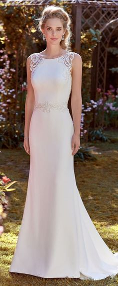 Rebecca Ingram - ADA, Beaded lace motifs adorn the illusion straps, illusion open back, and waistline of this Aldora Crepe sheath wedding dress.