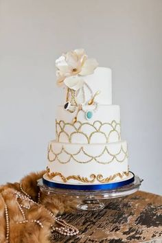 Great Gatsby Wedding Blue and Gold