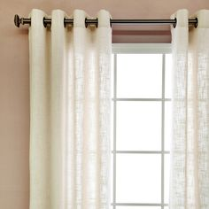 These sheer curtains allow natural light to flow through the room and add the look of linen without the hassle. This curtain pair has 16 antique bronze grommets and is sure to bring style and sophistication to any room. Natural Curtains, Living Room Drapes, House Styles, Sheer Curtains, Curtains, White Drapery Panels, Simple Lighting, Curtain Styles, Home Decor Outlet