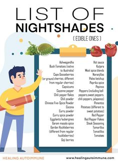 Should you avoid nightshades? Or do you just want to know what nightshades are? Check out this list of nightshades foods and find out why you might want to avoid them. Autoimmune Diet, Aip Diet, Nightshades List, Nightshade Free Recipes, Nightshade Vegetables List, Psoriasis Diet, Psoriasis Symptoms, Curry Spices, Plant Paradox