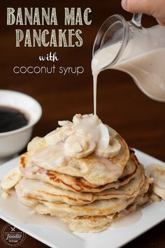 Banana Mac Pancakes with Coconut Syrup - Self Proclaimed Foodie